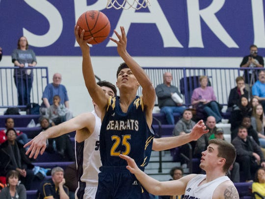 Wendell White of Battle Creek Central lays up the ball