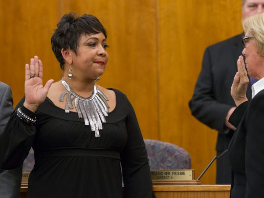 Commissioner Clara Reynolds sworn in for her first term as county commissioner in January 2015.
