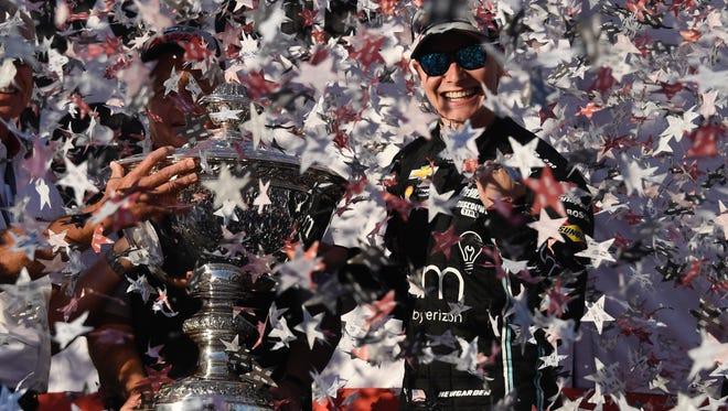 IndyCar Series driver Josef Newgarden (2) celebrates winning the IndyCar Series championship