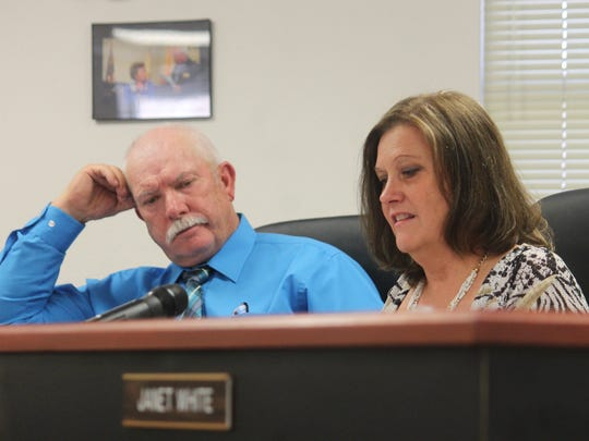 County Commissioners Ronny Rardin and Susan Flores discuss the latest Otero County volunteer firefighter/EMS standards policy at their regular meeting Thursday morning.