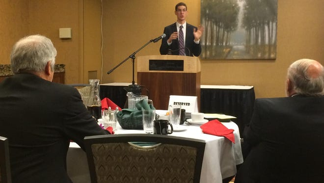 Scott Greenberg, analyst with the Tax Foundation, speaks Wednesday at the 94th annual meeting of the Montana Taxpayers Association.