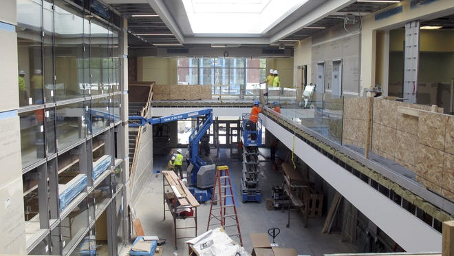 Construction continues in the atrium of the new state office complex in Waterbury. Most of the old complex was made unusable by flooding from Tropical Storm Irene, which hit Vermont on Aug. 28, 2011.