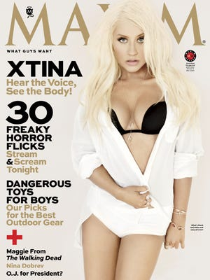 Christina Aguilera covers the October issue of 'Maxim' mag, out Sept. 17.