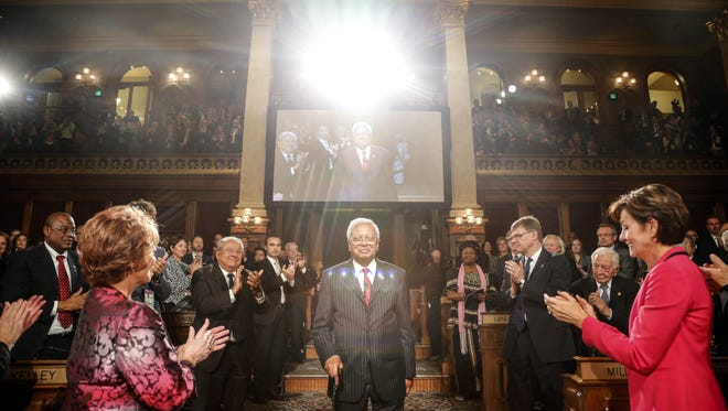 2015 World Food Prize Laureate Sir Fazle Hasan Abed of Bangladesh is  introduced at the Capitol Thursday, Oct. 15, 2015.