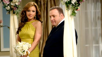 Kevin James and Leah Remini will play husband and wife again in the two-part season finale of CBS' 'Kevjn Can Wait.'