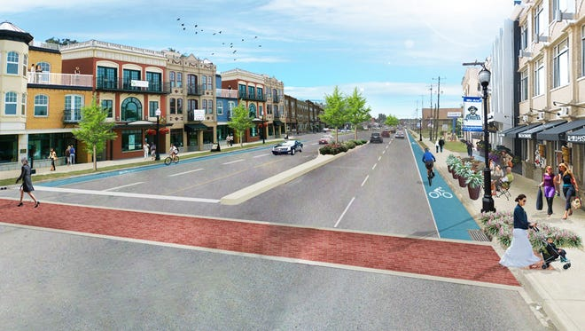 Renderings of what Charlestown;s Market Street could look like under changes proposed in its comprehensive plan.