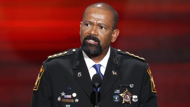 David A. Clarke Jr. speaking at the 2016 Republican National Convention in Cleveland.