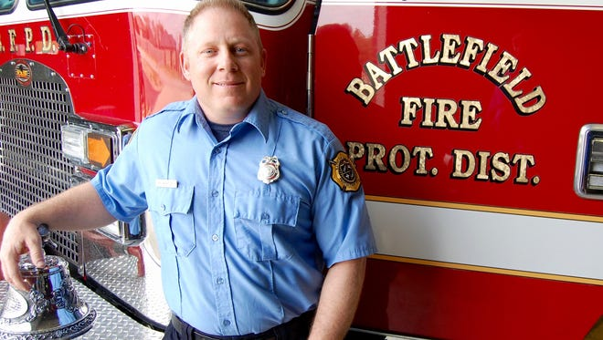 Kevin Newton serves the community of Battlefield as a fire fighter following a term of service with the U.S. Navy
