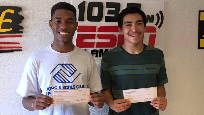 Jared Session (L) and Xy-Ian Tam (R) were awarded the 2016 New Mexico Broadcasters Association scholarship by WP Broadcasting in Alamogordo.