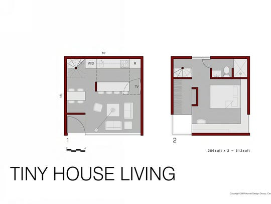 A sample of a floor-plan for a 256-square-foot by 256-square-foot