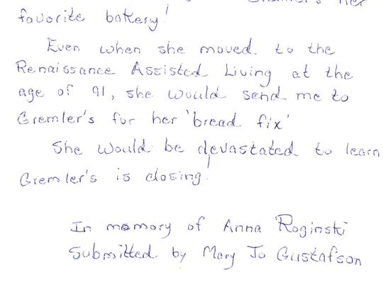 A letter from a customer shares how much Gremler's Bakery meant to her family.