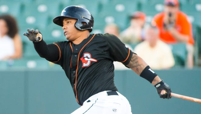 Delmarva Shorebirds catcher Yermin Mercedes (17) takes a cut against the Kannapolis Intimidators on Tuesday, June 14 at Arthur W. Perdue Stadium in Salisbury.