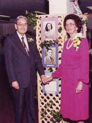 Scott and Doris Tatum at their  golden wedding anniversary in 1992.