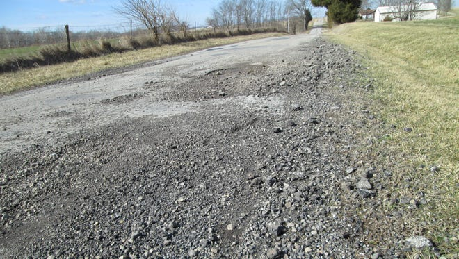 Sections of Velocipede Pike in Union County were crumbling recently.