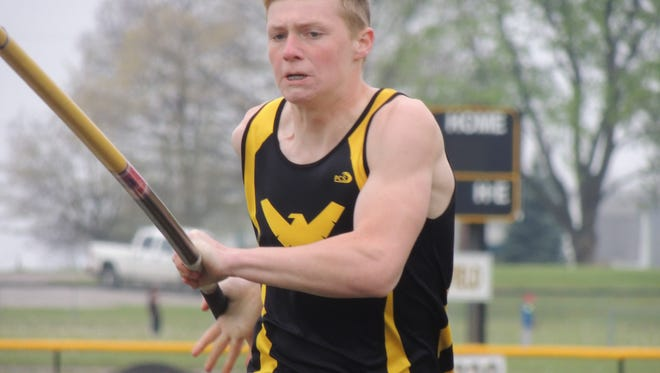Colonel Crawford sophomore Kaleb Landin makes his way down the runway for a vault at the 10th annual Bob Royer Relays