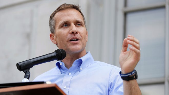 In this May 23, 2017, file photo, Missouri Gov. Eric Greitens speaks to supporters outside the state Capitol in Jefferson City, Mo.