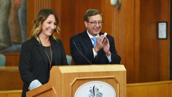 Mayor Mike Huether and city council member Christine Erickson announce Lyft will be available in Sioux Falls Monday, Oct. 16, at City Hall.