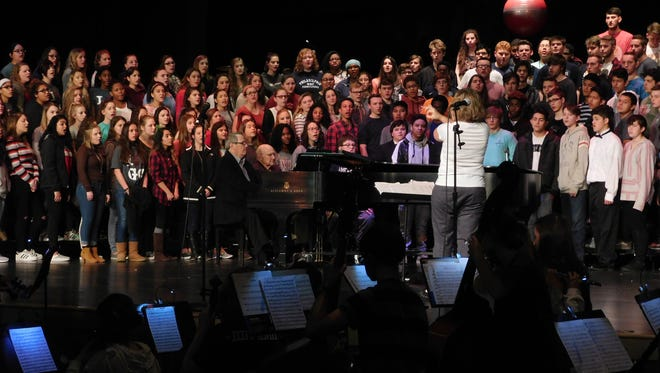 "The Chambersburg Area Senior High School Glee Club, directed by Elizabeth Stahl, sings the ""Hallelujah"" chorus during a dress rehearsal on Friday, Dec. 15, 2017. Former club directors Robert Eyer (1998-2012) and Ferree LeFevre (1969-1998), accompany the choir on piano. The directors will join the Glee Club for the annual Christmas show on Monday (Dec. 18) and Tuesday (Dec. 19) evenings."