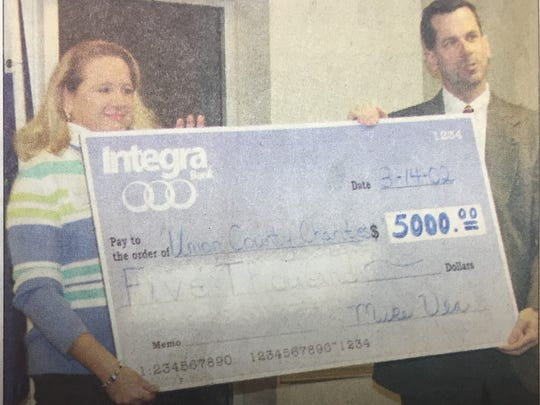 Michael T. Vea, right, presented a check to Barb Gorman on behalf of Integra Bank for Union County charities in March 2002.