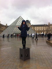 Laura visiting the Louvre in Paris, France.