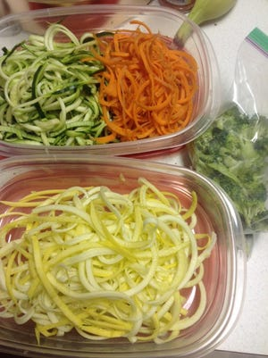 Last Christmas my husband (then fiance) got me one of those veggie spaghetti makers. I love using it to easily create spirals of squashes and carrots. It's a quick and fun way to prepare salads for a week of lunches.
