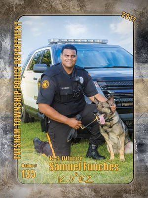 Evesham police officer Samuel Funches is shown with K-9 EZ, The pair are part of the K-9 Unit at the Evesham PD. The unit just received a generous donation for medical kits for the dogs. The donor is a resident, who wishes to remain anonymous.