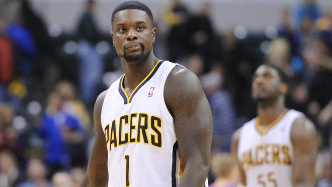 Lance Stephenson is seen at the end of the game. The Indiana Pacers lost to the Detroit Pistons 101 to 96 in NBA action Monday December 16, 2013 at Bankers Life Fieldhouse in Indianapolis.