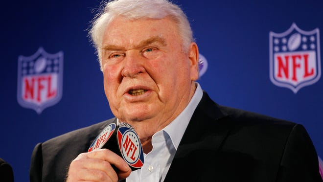 ORG XMIT: 108525553 DALLAS, TX - FEBRUARY 03:  John Madden speaks during a press conference where he awarded the New England Patriots offensive linemen with the Madden Most Valuable Protectors Award for being this year's best offensive line, as determined by John Madden and fan voting, at the Super Bowl XLV media center on February 3, 2011 in Dallas, Texas. The Green Bay Packers will play the Pittsburgh Steelers in Super Bowl XLV on February 6, 2011 at Cowboys Stadium in Arlington, Texas.  (Photo by Scott Halleran/Getty Images) ORIG FILE ID: 108525553CH016_The_Madden_M