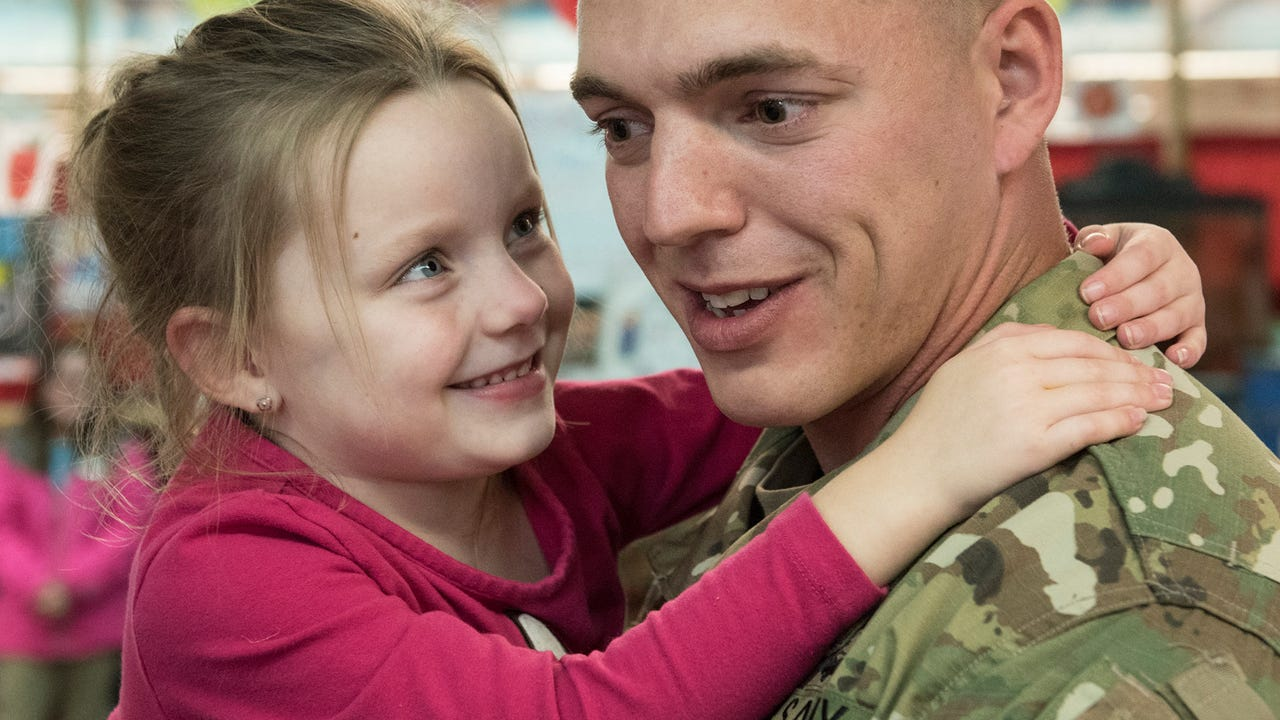 After a long deployment, Sgt. Michael Diehl returns to the school he attended as a child to surprise his daughter.