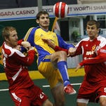 Lancers forward Andrew Hoxie, middle, was named to the Major Arena Soccer League's Team of the Week for his six goals and four assists in two games.