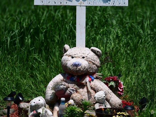 A roadside memorial on McLean Cortland Road in the Town of Groton, Tompkins County. The memorial is in honor of the late Jesse Kimball of Syracuse, who was killed in an accident at the location in 2016.