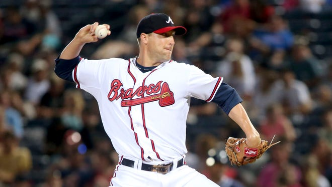 Braves relief pitcher Jim Johnson during his previous stint in Atlanta.