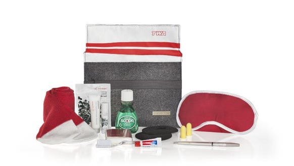 One of American's retro amenity kits in the branding