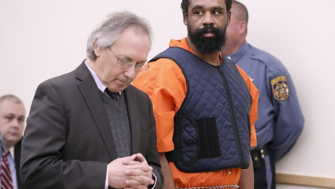 Grafton Thomas, right, with his Goshen attorney, Michael Sussman, appears at his arraignment in Rockland County Court on Jan. 16, Thomas, of Greenwood Lake, pleaded not guilty to attempted murder and other charges from an attack at a Monsey Hanukkah celebration that left five people wounded.