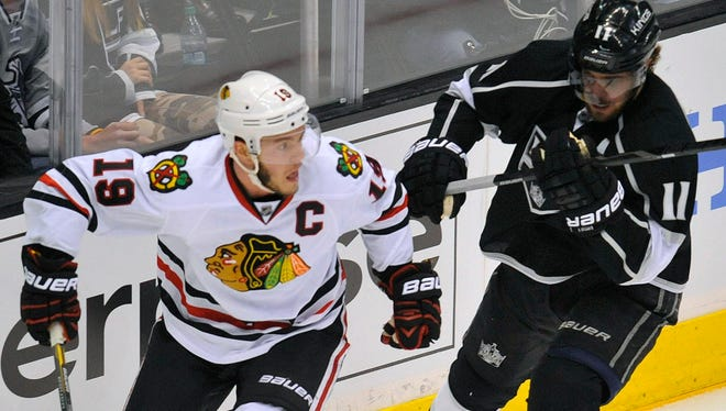 Top two-way centers Jonathan Toews, left, and Anze Kopitar have been out on the ice against each other a lot.