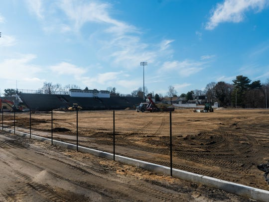 Construction underway at Gittone Stadium where a new