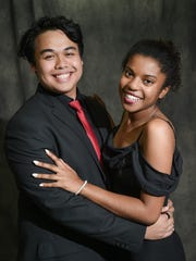 The classic prom pose, shown by Thomas and Danielle, gets serious with formal black attire.