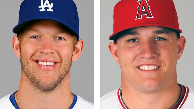 Los Angeles Dodgers pitcher Clayton Kershaw, left,  and Los Angeles Angels outfielder Mike Trout.