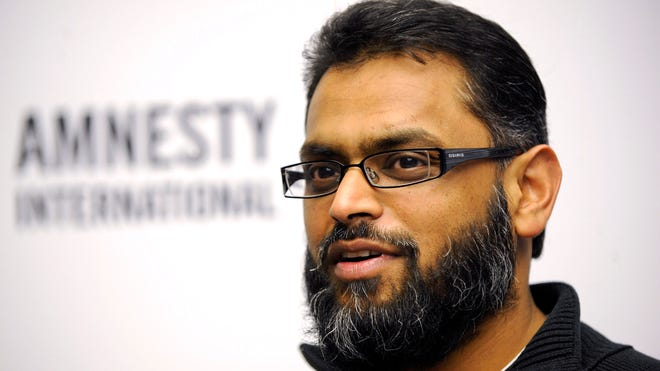 Former British Guantanamo Bay detainee Moazzam Begg, speaking during an Amnesty International press conference in Berlin in 2010, was arrested in Britain on Feb. 25 on suspicion of Syria-related terror offenses, police said.