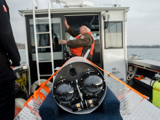 An underwater camera rig is strapped onto the deck of the new St. Clair County Sheriff Dive Team boat.