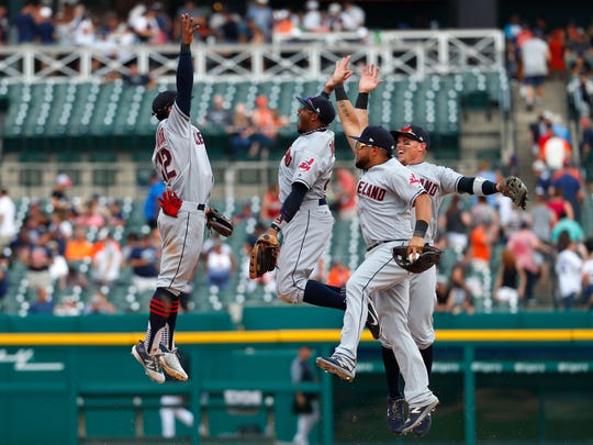 From left, Cleveland's Francisco Lindor, Rajai Davis, Melky Cabrera and Brandon Guyer celebrate after a win over Detroit this season.