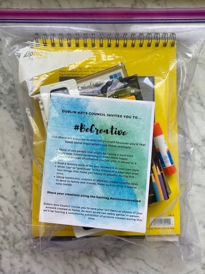 This kit of art supplies is an example of what Dublin Neighborhood Bridges and the Dublin Arts Council will distribute to Dublin City School District students on the free and reduced-price lunch program, along with grab-and-go meals, this month. The kits will include a sketch pad, colored pencils and crayons.