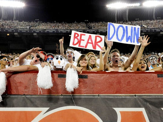 Wildcats fans in the student section called the Zona Zoo cheer during the game on Sept. 20, 2014, against Cal.
