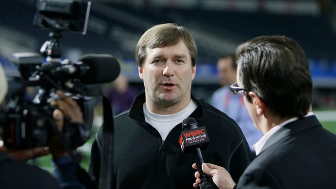 Alabama defensive coordinator and Georgia head coach Kirby Smart  speaks during the media day for the NCAA Cotton Bowl college football game Tuesday, Dec. 29, 2015, in Arlington, Texas. (AP Photo/LM Otero)
