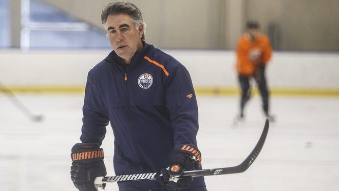 Edmonton Oilers' head coach Dave Tippett skates during training camp in Edmonton, Alta., on Tuesday July 14, 2020.
