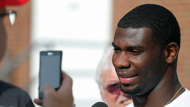 Indianapolis Colts running back Vick Ballard speaks to the media on the first day of training camp, on Wednesday, July 23, 2014, at Anderson University.