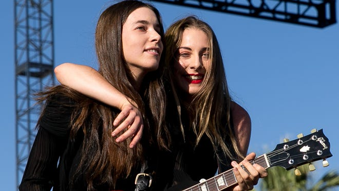 HAIM performs at the Outdoor stage during the Coachella Music & Arts Festival Weekend 1 held at the Empire Polo Club in Indio on Friday, April 11, 2014.