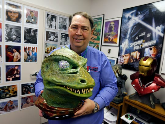 January 11, 2017 - Pink Palace CTI Theater manger Tony Hardy created costume of the Gorn, a famed Star Trek villain, molded from an original. The head was cast from an original mold used for the creature's debut on the show on January 19, 1967. (Mike Brown/The Commercial Appeal)