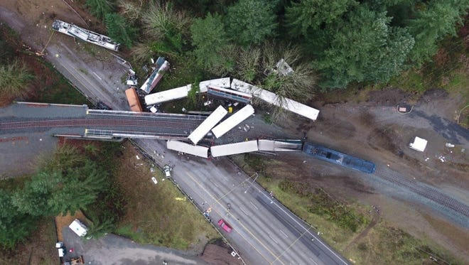 An Amtrak train derailed Dec. 18, 2017, in DuPont, Wash., at 78 mph along tracks posted for 30 mph, according to National Transportation Safety Board investigators. Three people were killed and 62 injured on the train, and eight people were injured on Interstate 5 below where train cars left the highway overpass, according to NTSB.