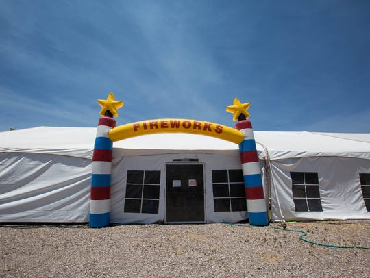 The fireworks tent  in Mesilla owned by Jimmy Nevarez.
